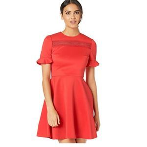 Ted Baker Red Calizee Lace Insert Skater Dress 12